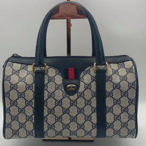 GUCCI Vintage GG Canvas Leather Web Stripe Bag